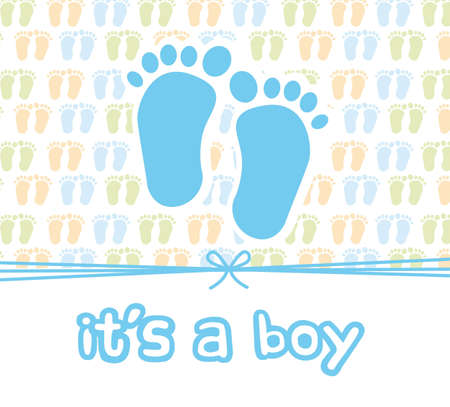 it is a boy card with footprint, baby shower. vector illustration Vector