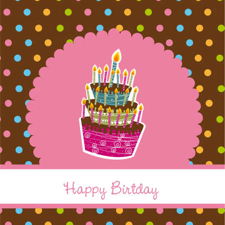 happy birthday with cake, pink card. vector illustration Vector