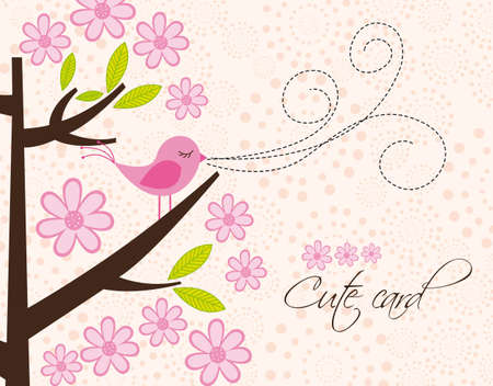 cute bird and tree with flowers, card. vector illustration Vector