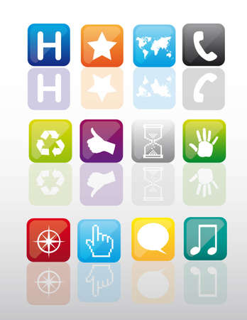 colorful icons with shadow. vector illustration Vector