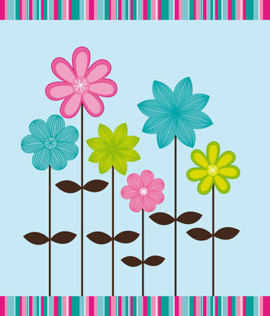 modern art: cute flower over blue background. vector illustration