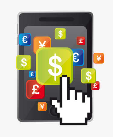 mobile banking: dollar sign over cellphone with cursor hand. vector illustration Illustration