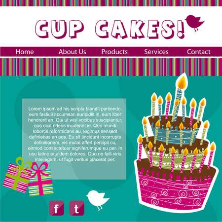 cup cakes: plantilla de dise�o web, cup cakes. ilustraci�n vectorial