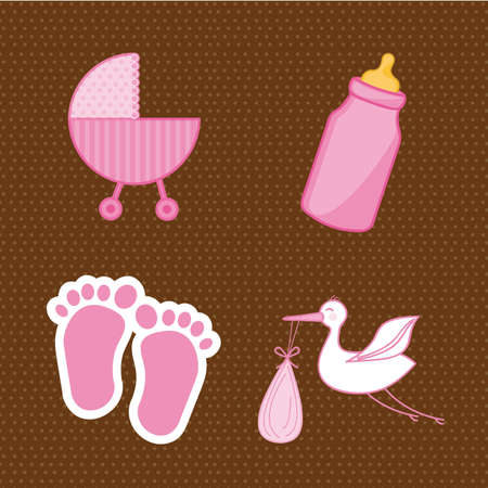 baby shower elements, pink. vector illustration Vector