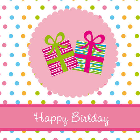 happy birtday: happy birtday card with gifts. vector illustration