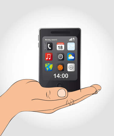cellphone with icons over hand. vector illustration Vector