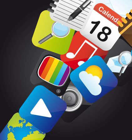 iconos de colores sobre fondo negro. ilustración vectorial