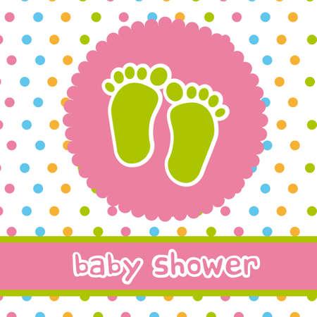 newborn footprint: baby shower with footprints card. vector illustration