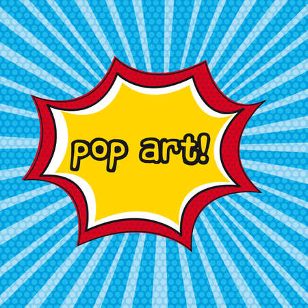 nuclear explosion: pop art explosion over blue background. vector illustration