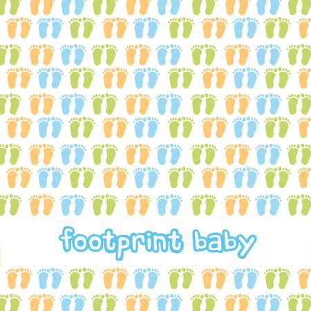 newborn footprint: footprint baby background, boy. vector illustration Illustration