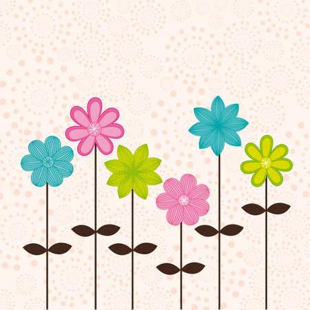 blumen cartoon: niedlichen Blumen �ber beige Hintergrund. Vektor-Illustration Illustration