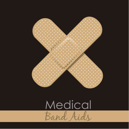 Bandages forming a cross on brown background. Stock Vector - 12756008