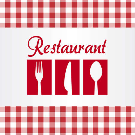 positive silhouettes of spoon, fork and knife in red checkered background Vector