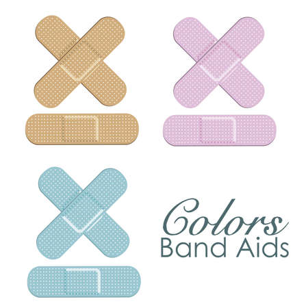 Pastels color band aids isolated ove white background. vector Stock Vector - 12756038