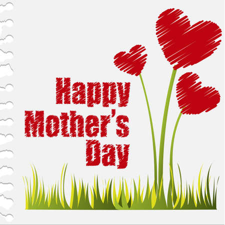 mother cartoon: hearts flowers, happy mother�s day. vector illustration