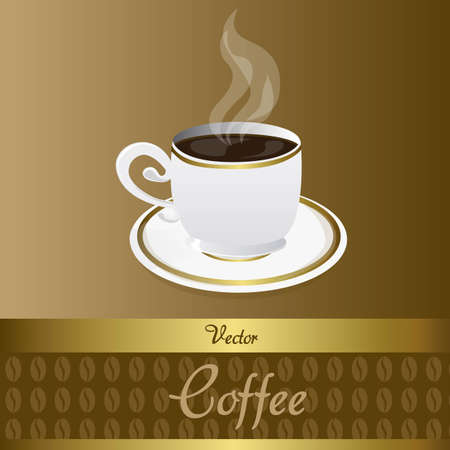 coffee beans background: Coffee cup with coffee beans background, brown. Vector illustrator Illustration