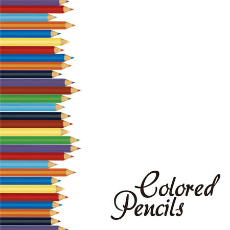 Close up of color pencils with different color over white background Vector