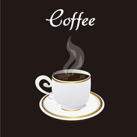Tasse à café sur fond noir, illustration vectorielle