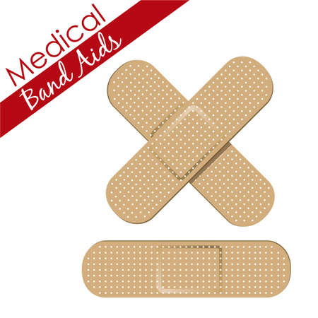Band aids collection skin color, medical set. vector