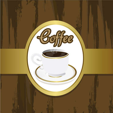 coffee cup on grounge brackground, with brown and gold colors Vector