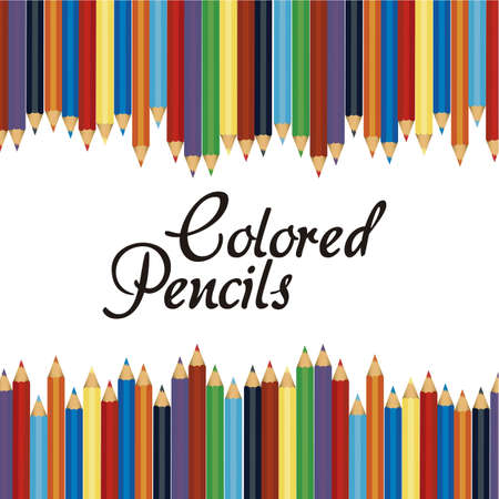 many differents colored pencil background, vector illustration,  Vector