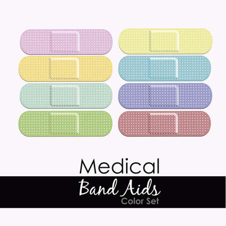 pastel adhesive aids on white background. Vector