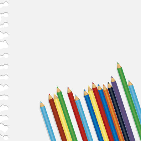 colored pencils over notebook paper, vector illustration Vector