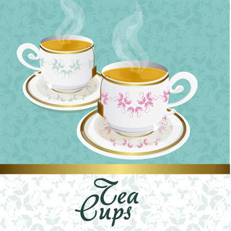 blue and gold elegant tea background vintage, vector illustration Stock Vector - 12756082
