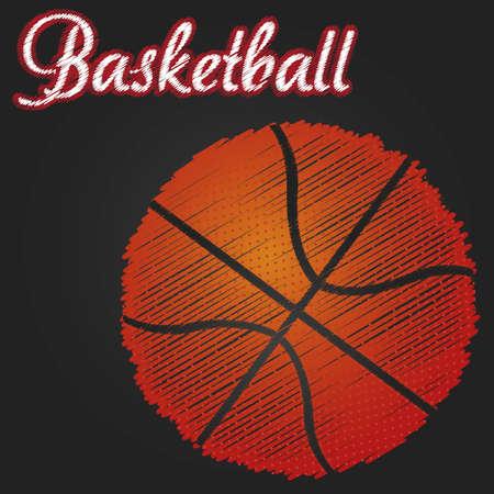 bal basketbal tekening over zwarte achtergrond, vector
