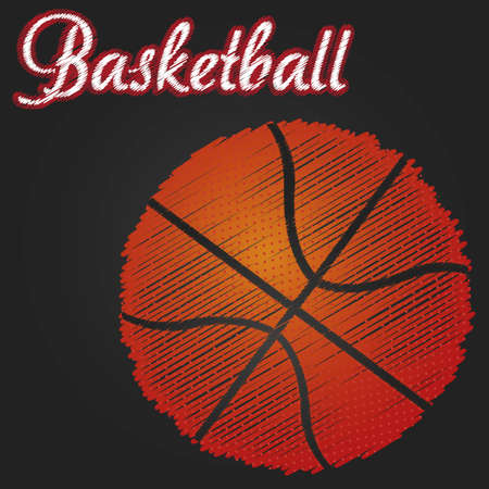 ball basketball drawing over black background, vector