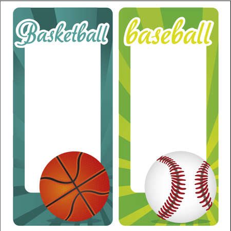 sports cards decorated with balloons and colored stripes  Vector
