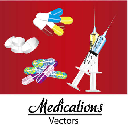 medical icons over red background, vector illustration Vector