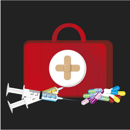 first aid kit over black bakcground, vector illustration Vector