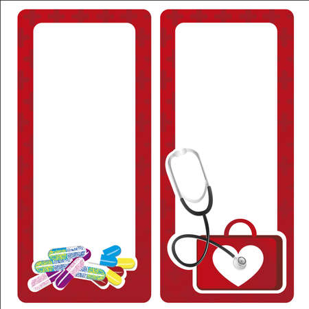 medical box: medical cards decorate with medicine elements Illustration
