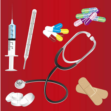 cons: medical icons cons over red background, vector illustration Illustration