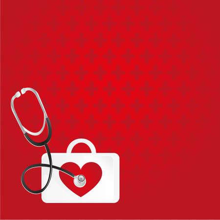 키트: 응급 처치, 심장 박동, 배경에 레드 패턴
