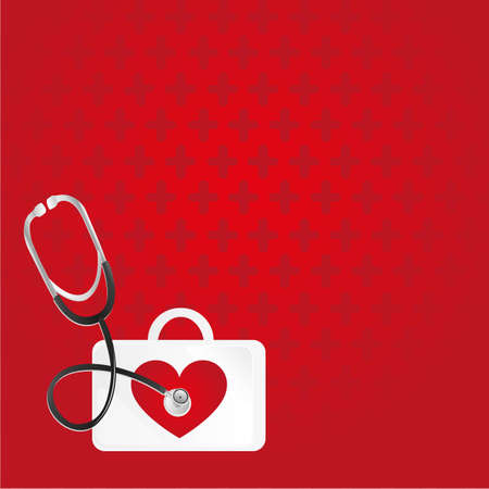 first aid box: first aid, heartbeat, background over red pattern  Illustration
