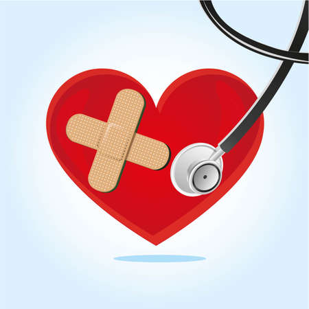 heartbeat, stethoscope over blue background vector illustration Vector
