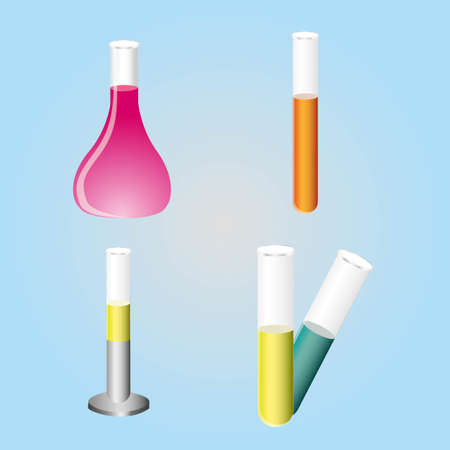 tests tube icons in color over blue blackground. Vector