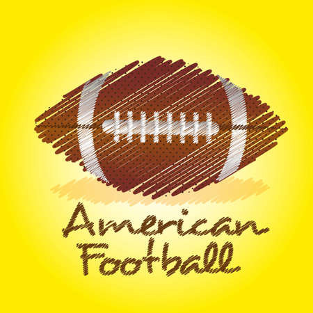 pumped: american footbal drawing over yellow background Illustration