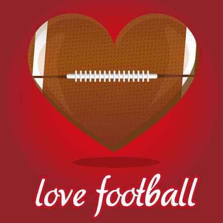 inflated: american footbal illustration shaped heart, over red background Illustration