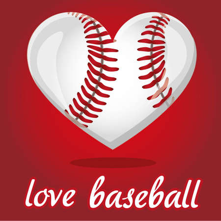 baseball game: baseball illustration shaped heart, over red background