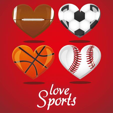 textures of different sports balls in the shape of heart Vector