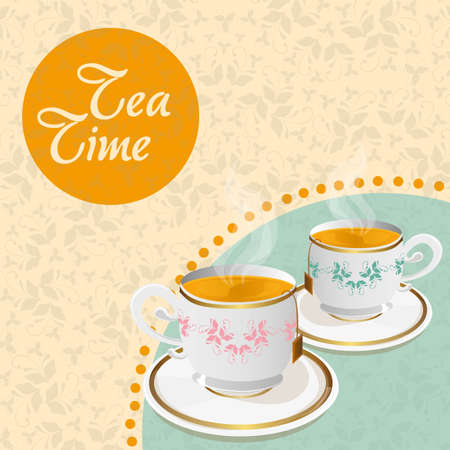 teacups  floral background with details vector illustration