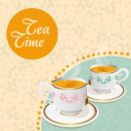 teacup: teacups  floral background with details vector illustration