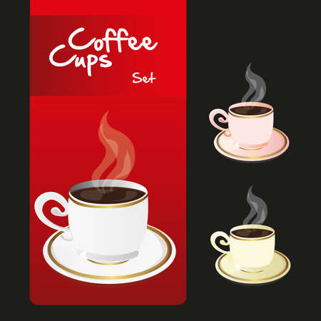 coffee cups set over red and black background, vector illustration