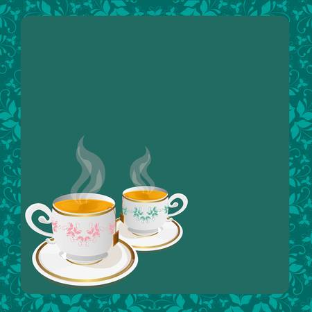 tea cups basckground over blue and floral background, vector Vector