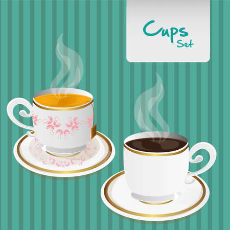 british foods: set of coffee and tea cups, over lines background Illustration