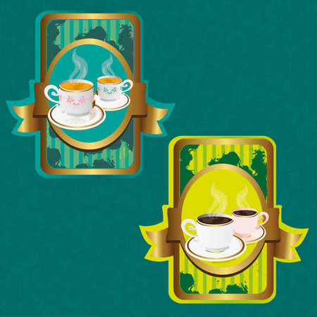 two labels with coffee and tea icons over floral background, vector Vector