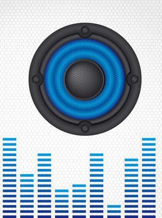 speaker with net over gray background, sound. Vector